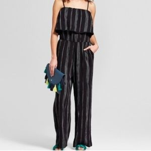 a new day black and white striped jumpsuit, L, NWT